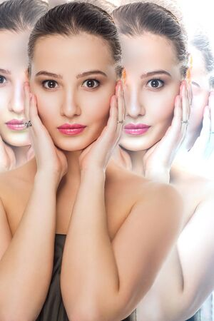 Beauty spa woman with perfect skin. The effect of many individuals. Spa, cosmetology, make up, care procedures