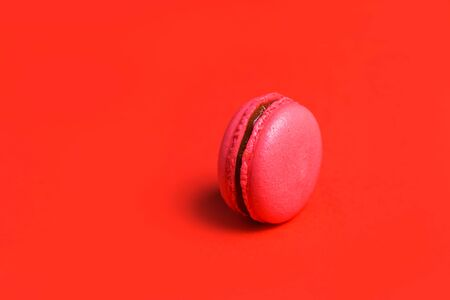 Minimalism. One coral or pink French macaroon on a red background, closeup, copy space