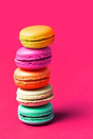 Close up of macaroon on pink background Banco de Imagens
