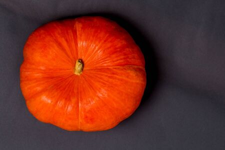 Orange autumn pumpkin on black background, top view