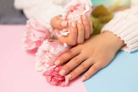 Closeup beautiful well groomed female hands and pink flowers on a multicolored background. Care, Spa, quality professional manicure, beauty and fashion concepts 写真素材