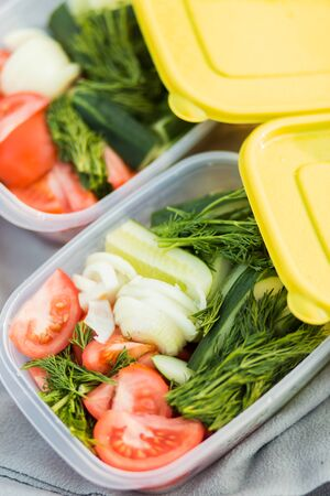 Raw vegetables tomatoes, cucumbers, onions and dill in plastic containers. Closeup. Healthy food, diet