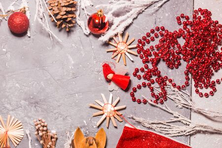 Christmas or New Year background on the gray table 写真素材