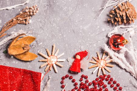 Beautiful Christmas text frame, decorations, cones, copy space