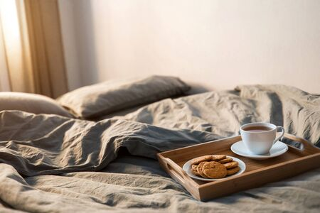 Morning. Breakfast in the bed Imagens