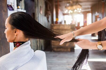 Hair care in modern spa salon. hairdresser woman applies a mask or oil on the hair of the client. Care and hair products .