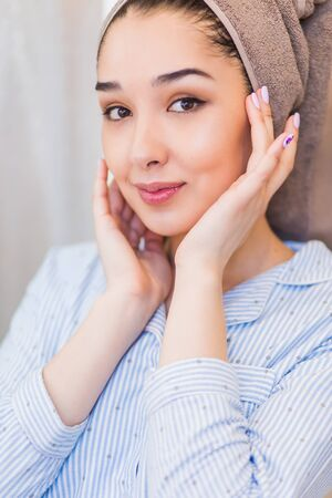 Skin care, Cleansing and moisturizing concept. Beauty face