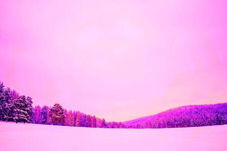 Abstract bright color photo of a winter landscape, pink Archivio Fotografico - 138110690