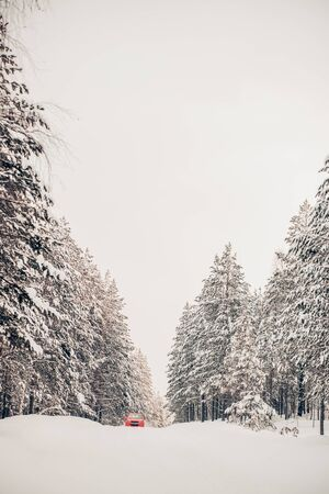 Beautiful white snow landscape, red car on the road. Travel, vacation, winter concept Archivio Fotografico - 138112774
