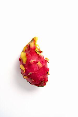 Close up shot fresh whole dragon fruit isolated on white background. Exotic Thai Fruit. Pitaya. Healthy food. Stok Fotoğraf