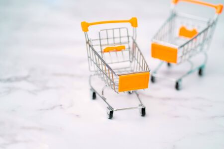 Two empty small miniature toy shopping trolley on light background. Selective focus. Shopping, purchases, supermarket, sale concept.