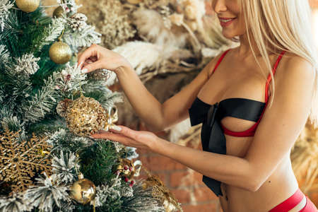 Sexy woman in lingerie decorates Christmas tree and smiles on Christmas background. Plastic surgery, beauty, youth, gift concept Stock fotó