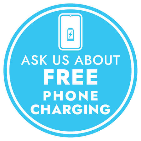 Ask us about free phone charging - Blue Vector Information Sign. Round sticker for shops and public places - Free charging.