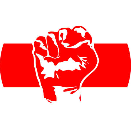 Illustration - The image of the fist icon and the white-red-white flag of Belarus in a circle. Protest sign for justice and human rights