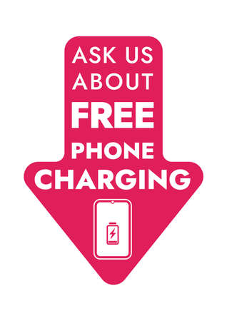 Ask us about free phone charging - Vector Information Sign. Store and public places sticker - Free Charging. Ilustração