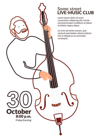 Line art vector poster for a music event or music class. Double bass player poster design - less inc style. Light eco-friendly design of promo materials for a concert or cultural event. Bearded man sings and plays contrabass. Иллюстрация