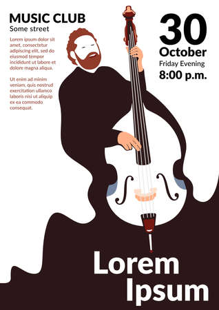 A vector poster depicting a bearded man singing and playing the double bass. Promo for a concert or musical evening in flat style. Easy-to-edit music event promotional material template. Stylized contrabass.