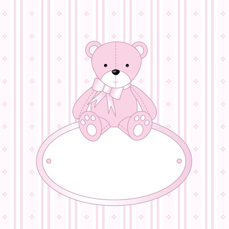 Teddy Bear for  Girl -  Arrival Announcement Stock Vector - 2731285