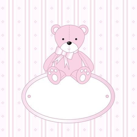 teddy bear vector: Teddy Bear for  Girl -  Arrival Announcement