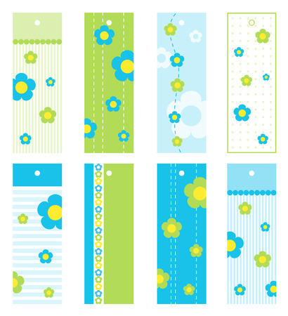 Set of floral gift tags