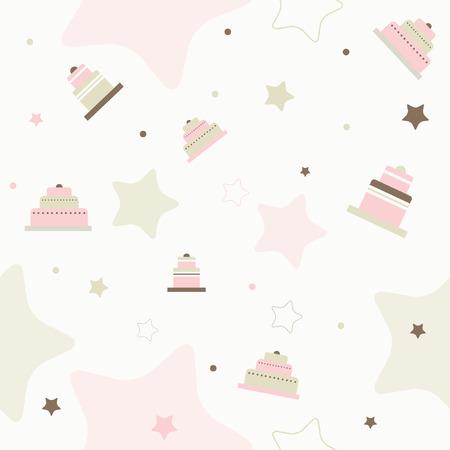Cake seamless vector pattern