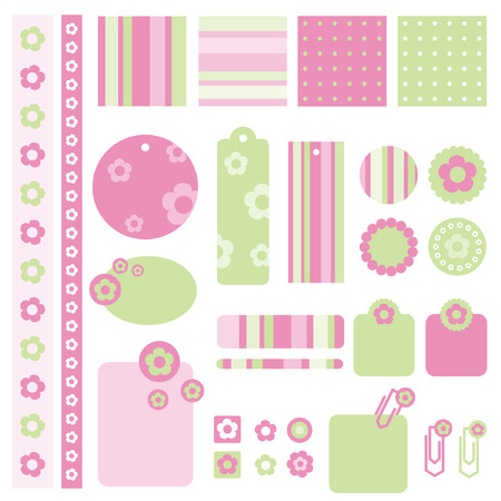 Design elements for scrapbook with seamless backgrounds Illustration