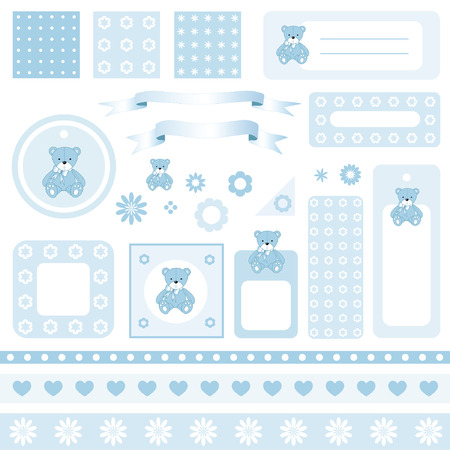 teddy bear vector: Design elements for scrapbook with seamless backgrounds Illustration