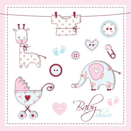 Baby shower design elements Vector