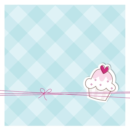 cupcake illustration: Greeting card with copy space