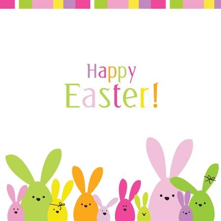 bunny rabbit: Tarjeta de Pascua con el espacio de la copia Vectores