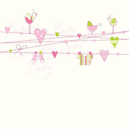 baby illustration: Baby shower card with copy space