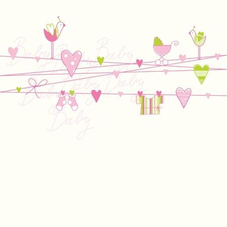 happy birthday baby: Tarjeta de Baby Shower con copia espacio