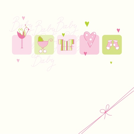 baby girl: Baby shower card with copy space