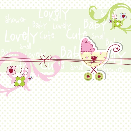 buggy: Baby shower card with copy space