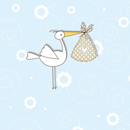 cigogne: Carte d'invitation de douche de bébé