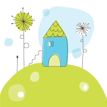 House on the hill - greeting card Vector