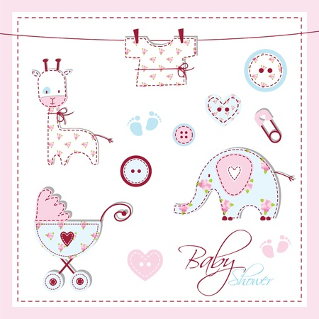 Baby shower design elementen Stock Illustratie
