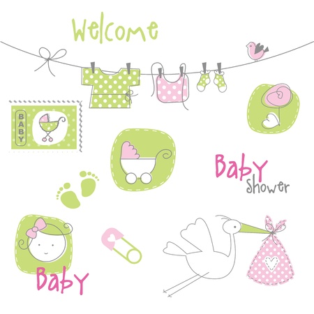 girls feet: Baby shower design elements