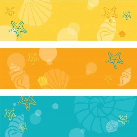 Summer seamless banner Illustration