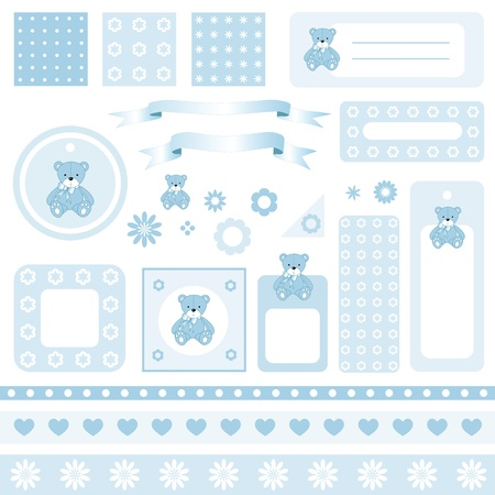 Design elements for scrapbook with seamless backgrounds Vector