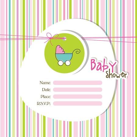 pram: Baby shower invitation  Illustration