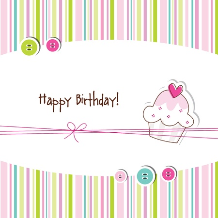 birthday cupcakes: Baby shower invitation  Illustration
