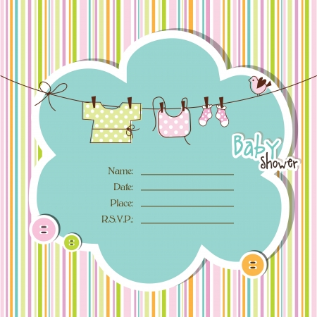 baby boy shower: Baby shower card with copy space Illustration