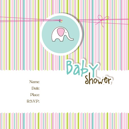 baby elephant: Baby shower card with copy space Illustration