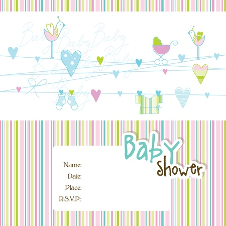 baby shower: Baby shower card with copy space Illustration