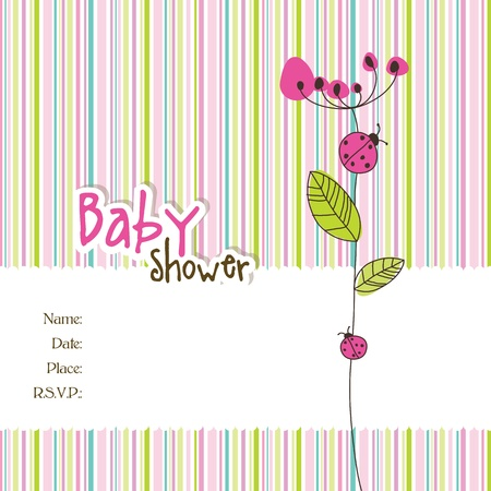 lady bug: Baby shower card with copy space Illustration