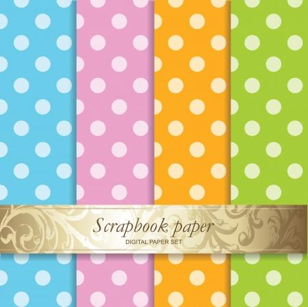 papel scrapbook: Fondos conjunto de colores - papel Noticias Vectores