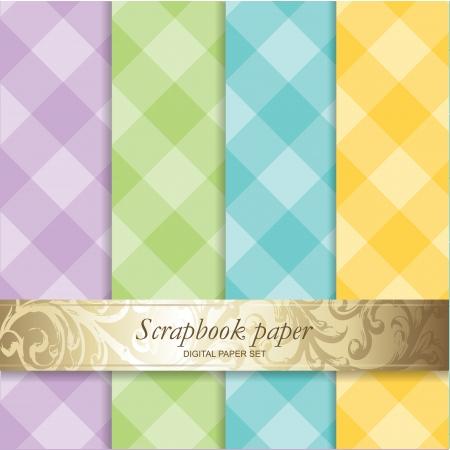 カラフルな背景のセット - スクラップ ブック紙  イラスト・ベクター素材
