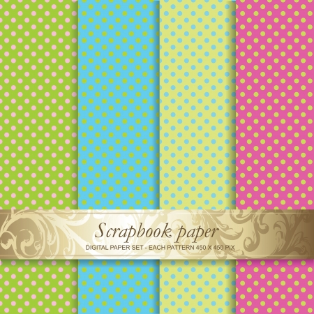 kit design: Colorful Backgrounds set - Scrapbook paper Illustration