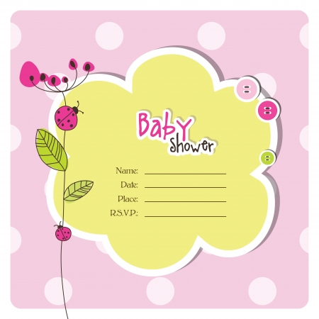 lady bug: Baby shower invitation with copy space